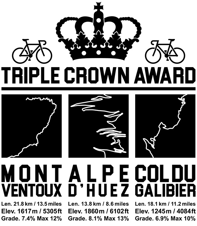 Triple Crown Black Cycling T-Shirt - Mont Ventoux - Alpe d'Huez - Col Do Galibier