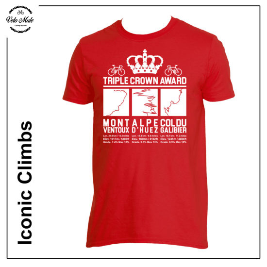 Triple Crown Red Cycling T-Shirt - Mont Ventoux - Alpe d'Huez - Col Du Galibier