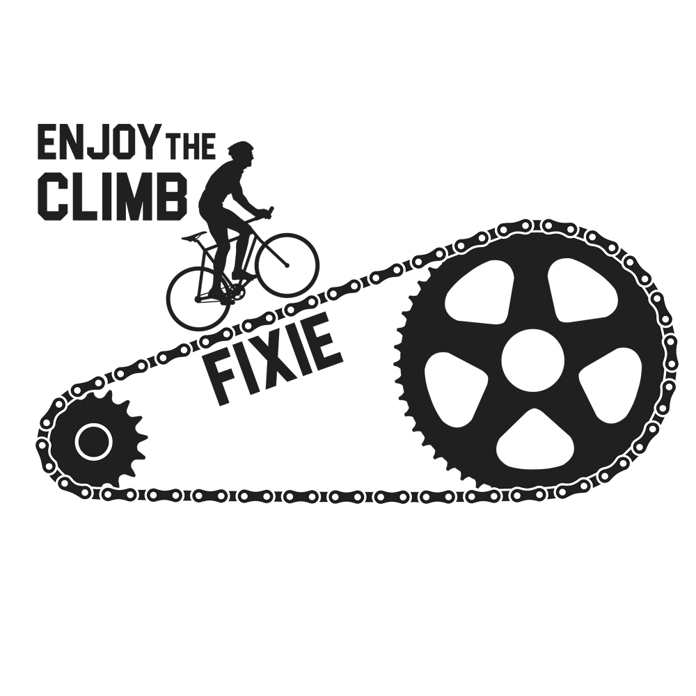 Fixie Enjoy The Ride Cycling T-Shirt Design
