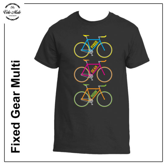 Velo Mule Fixed Gear Ridin' Mutlicolour Cycling T-Shirt