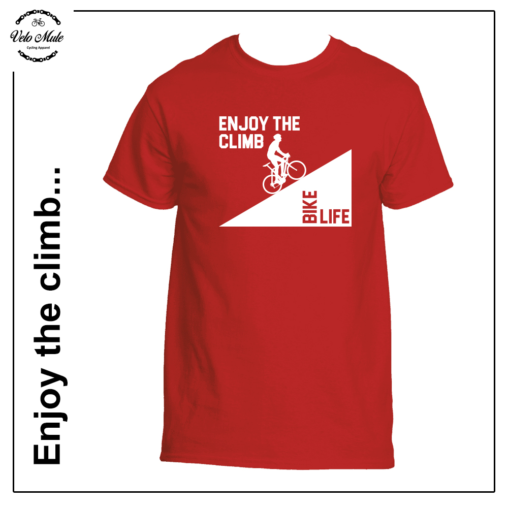 Velo Mule Bike Life Enjoy The Climb Cycling T-Shirt Red